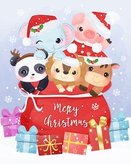 かわいい動物とクリスマスグリーティングカードのイラスト