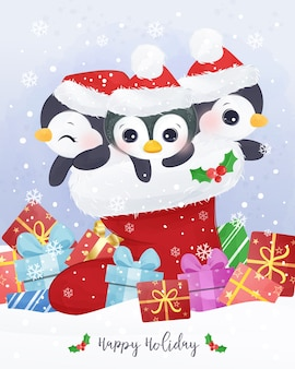 귀여운 펭귄과 크리스마스 인사말 카드 그림입니다.