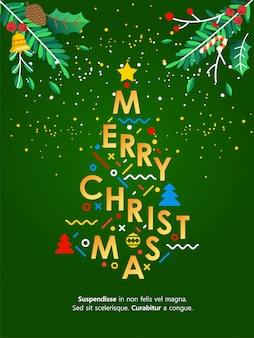 Christmas greeting card lettering illustration with christmas tree make from letter