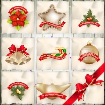 クリスマスのグリーティングカードの光と雪の背景。メリークリスマスの休日はデザインとビンテージ飾り装飾を望みます。新年あけましておめでとうございますメッセージ。