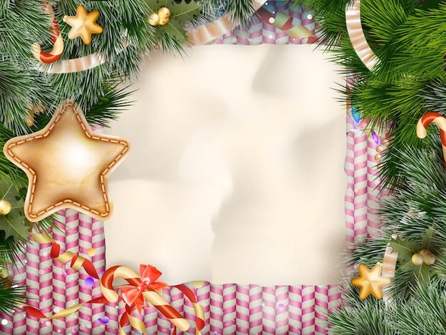 クリスマスのグリーティングカードの光と雪の結晶の背景。メリークリスマスの休日はデザインとビンテージ飾り装飾を望みます。新年あけましておめでとうございますメッセージ。