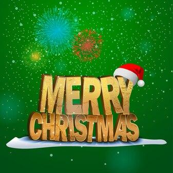 크리스마스 인사말 카드 메리 크리스마스 글자 떨어지는 눈과 불꽃놀이