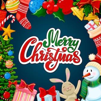 Christmas greeting card, merry xmas decorations.