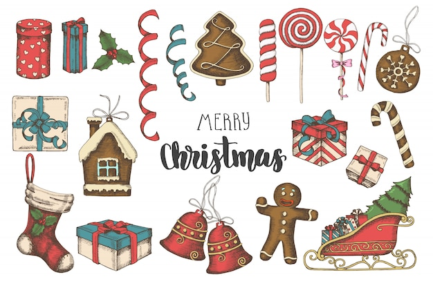 Christmas greeting card multicolored hand drawn objects set.