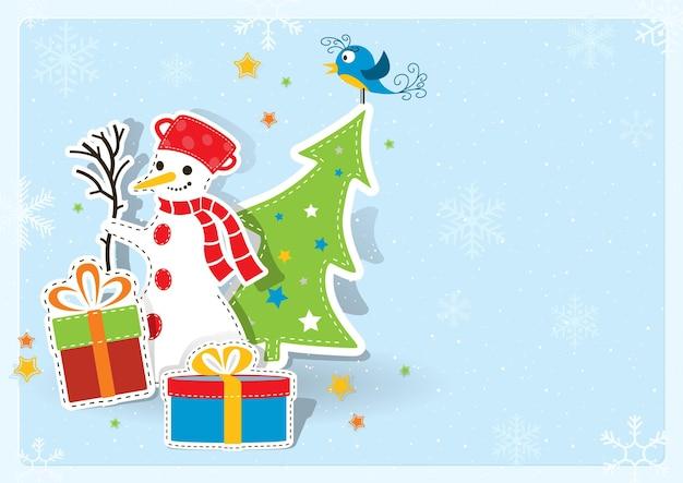 Рождественская открытка на синем фоне с элементами xmas бумаги