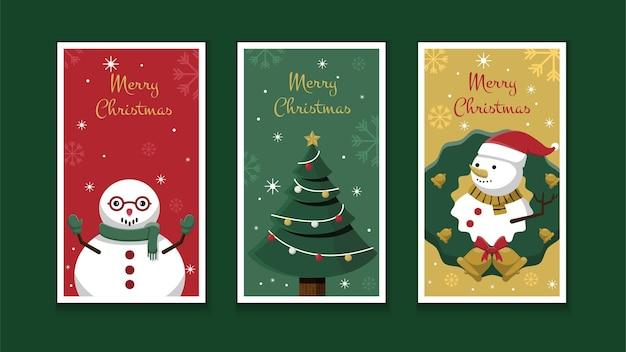 クリスマスグリーティングカードまたはinstagramストーリーコレクションテンプレートデザイン