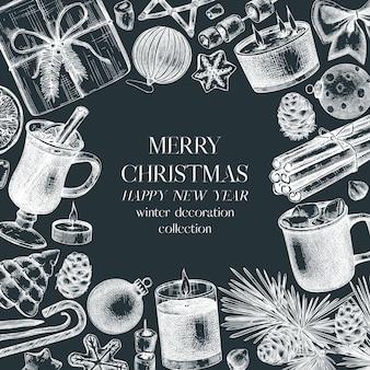 クリスマスのグリーティングカードまたは黒板の招待状