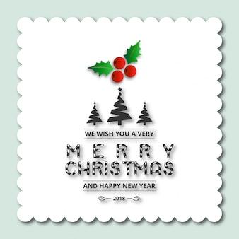 クリスマスグリーティングカードまたはポスターデザイン。メリークリスマスのタイポグラフィの休日は、白い背景とクリスマスのロゴの紋章のテンプレートが欲しい