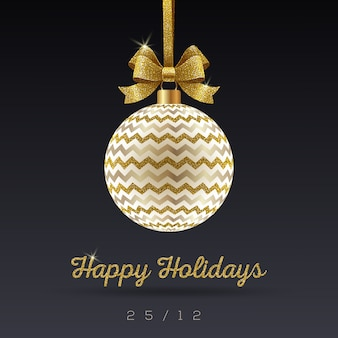 Christmas greeting card - ornate christmas bauble with glitter gold bowknot.