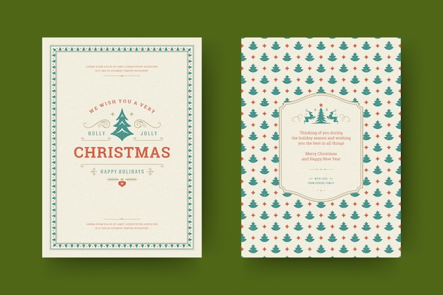 Christmas greeting card ornate with decoration symbols with holidays wish