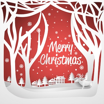 크리스마스 인사말 카드 종이 아트 스타일