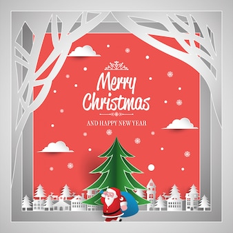 Christmas greeting card paper art style