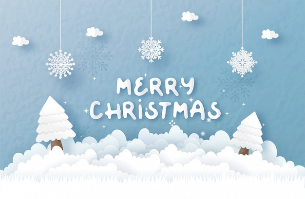 Christmas greeting card in paper cut style. vector illustration