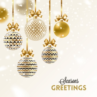 Christmas greeting card - patterned golden baubles with bow.