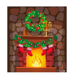 Christmas greeting card or postcard with fireplace and white frame. celebrating winter holiday