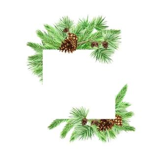 クリスマスのグリーティングカード、ポスター、松の枝と円錐形のバナーのコンセプト、新年水彩手描き下ろしイラストコピーのテキストのための領域
