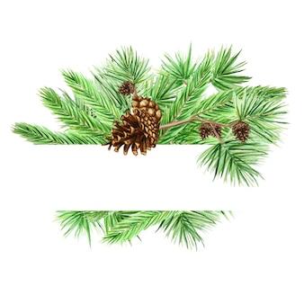 クリスマスグリーティングカード、ポスター、白い背景の上の松の枝と円錐形のバナーの概念、テキストのコピースペースと新年の手描き水彩イラスト
