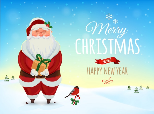 Christmas greeting card, poster. funny santa. winter landscape.    . merry christmas and happy new year