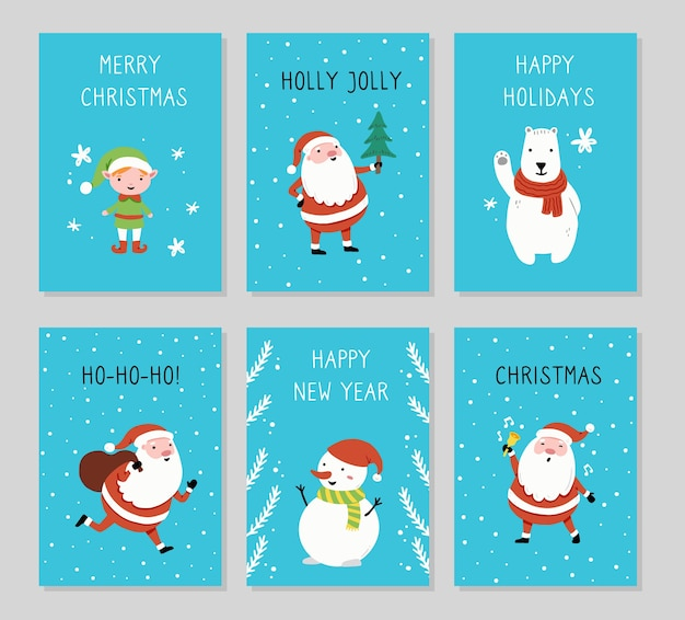漫画のサンタクロース、雪だるま、クマ、エルフのキャラクター、手描きのデザイン要素、メリークリスマスのテキストとクリスマスグリーティングカードセットのデザイン。