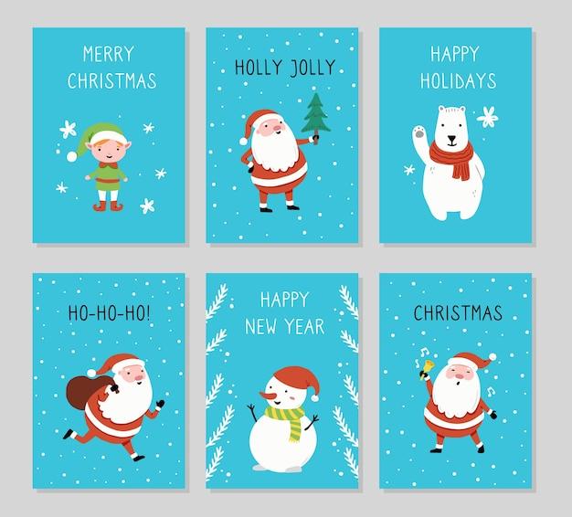 Christmas greeting card set design with cartoon santa claus, snowman, bear, elf character, hand drawn design elements, merry christmas text.