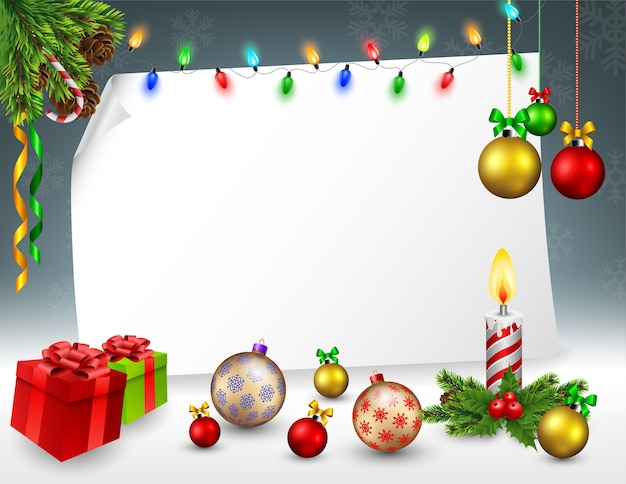 Christmas greeting card in snowy background