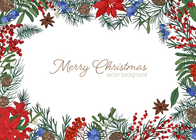 Christmas greeting card template decorated by branches and cones of coniferous tree