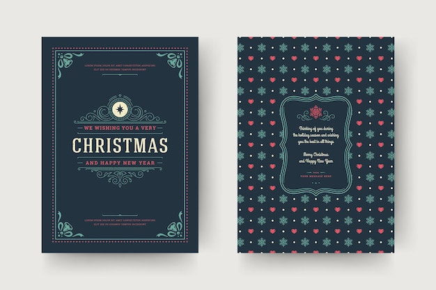 Christmas greeting card  template. merry christmas and holidays wishes retro typographic label and place for text with pattern background.