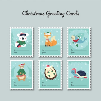 Christmas greeting card template with cute characters