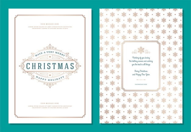 Christmas greeting card  template with decoration label  illustration. merry christmas and holidays wish vintage typographic text and pattern background.