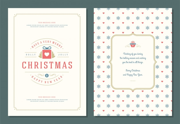Christmas greeting card template with decoration label illustration.