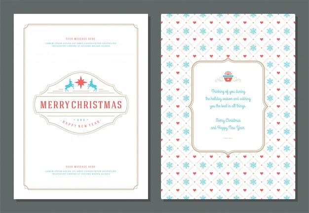 Christmas greeting card template with decoration  and pattern