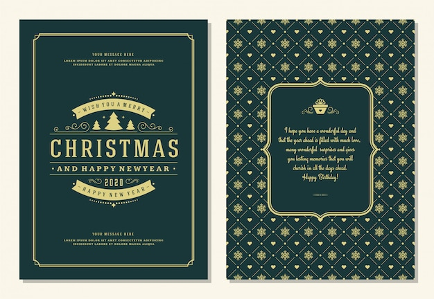 Christmas greeting card template with decoration