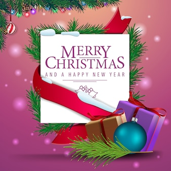 Christmas greeting card template with gifts.