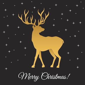 황금 사슴 크리스마스 인사말 카드 서식 파일