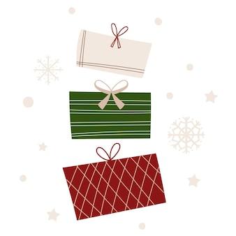 プレゼント付きのクリスマスグリーティングカードテンプレート。ベクトルイラスト。