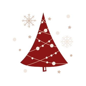 Christmas greeting card template with a tree. vector illustration.