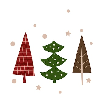 Christmas greeting card template with trees. vector illustration.
