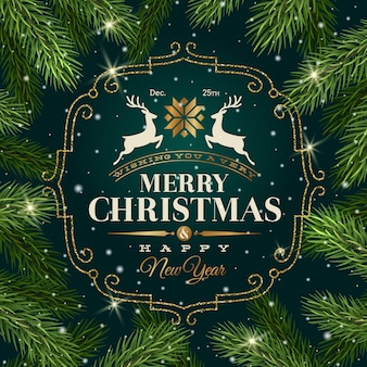 Christmas greeting card - type design with flourishes frame on a christmas tree branches background