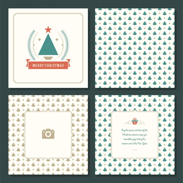 Christmas greeting card vector design and seamless pattern