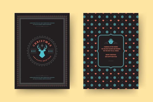 휴일 소원 크리스마스 인사말 카드 빈티지 인쇄상의 디자인 화려한 장식 기호