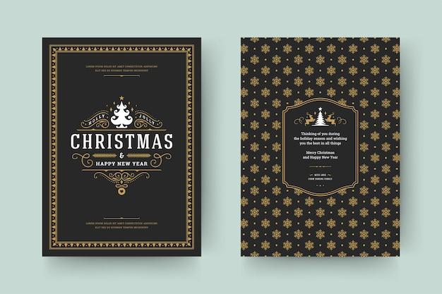 겨울 휴가 소원 크리스마스 인사말 카드 빈티지 인쇄상의 디자인 화려한 장식 기호