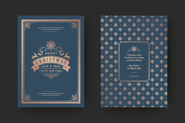 Christmas greeting card vintage typographic design ornate decoration symbols with winter holidays wish