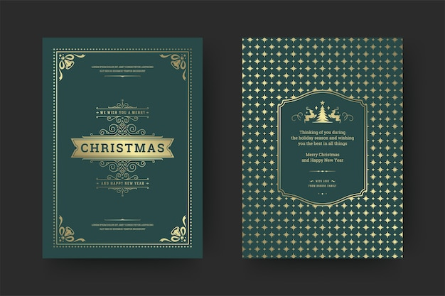 Christmas greeting card vintage typographic design ornate decoration symbols with winter holidays wish