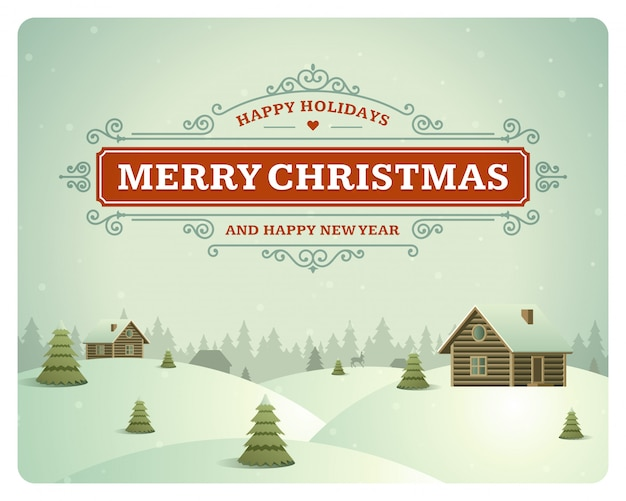 Christmas greeting card vintage typographic design ornate decoration