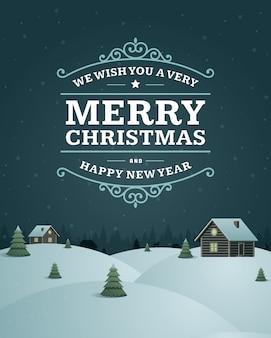 Christmas greeting card vintage typographic design ornate decorations symbols