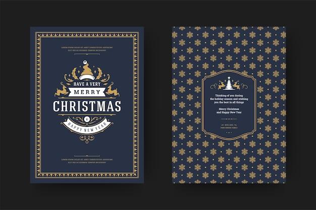 겨울 휴가와 크리스마스 인사말 카드 빈티지 인쇄상의 디자인 화려한 장식 소원
