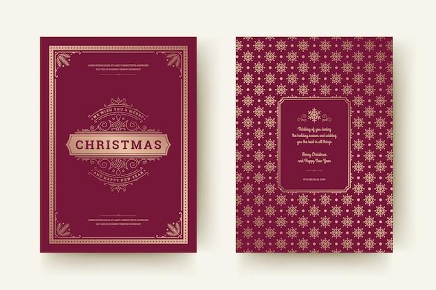 Christmas greeting card vintage typographic ornate decoration symbols with winter holidays wish