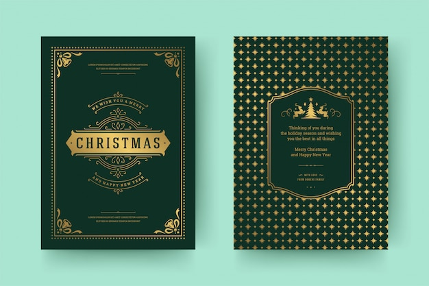 Christmas greeting card vintage typographic ornate decoration symbols with winter holidays wish
