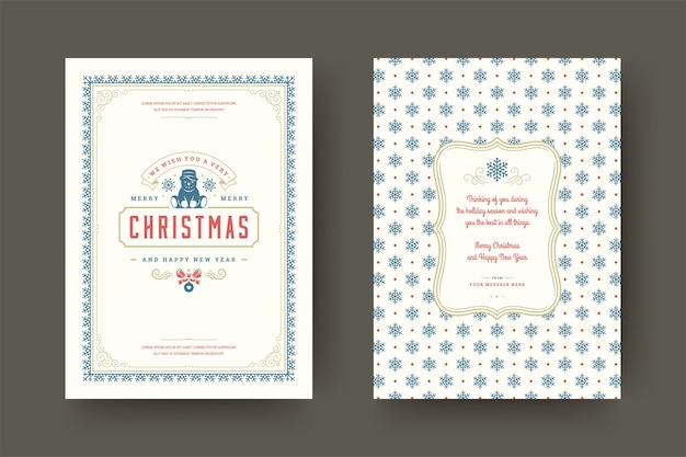 Рождественская открытка старинные типографские, богато украшенные символы украшения с желанием зимних праздников, украшениями и рамкой.