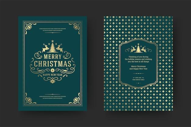 クリスマスグリーティングカードヴィンテージ活版印刷、冬の休日の願い、装飾品やフレームと華やかな装飾のシンボル。